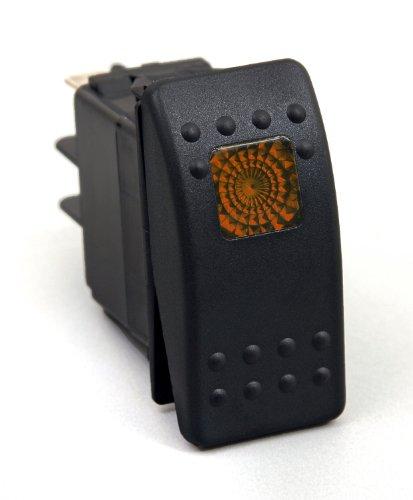 Daystar, Universal Rocker Switch with Amber Light, 20 Amp, Single Pole, KU80013, Made in America,Green
