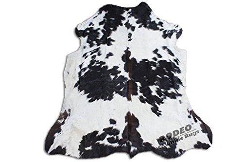 Rodeo Lederteppich, echtes Rindsleder, ca. 1,8 x 2,1 m schwarz / weiß