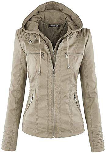 Newbestyle Jacke Damen Lederjacke Frauen mit Zip V Ausschnitt Kunstleder Bikerjacke Jacket Casual Übergangsjacke (Normale EU-Größe), Khaki, L/42