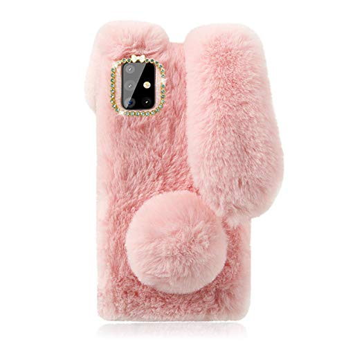 Cute Fluffy Bunny Case for Samsung Galaxy A51, Pink Furry Rabbit Fur Cover Plush Case with Ears and Fur Ball Protective Case Cute Toy Girls Gift, Stuffed Plush Animal Phone Case for Galaxy A51