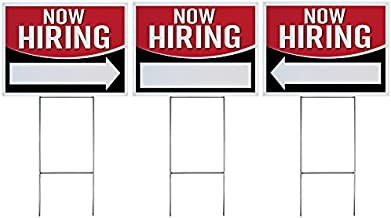 """Now Hiring Signs - Large Heavy Duty Signs and Stakes for Business Job Help Wanted Hiring Event, Double Sided 18"""" x 24"""" (3, Now Hiring - Bar & Arrow Signs)"""