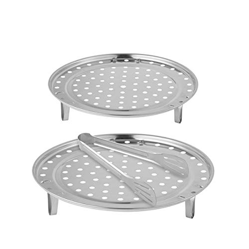 Cooker Rack - Aieve 2 Pack 9/10 Inch Pressure Cooker Canner Rack,Stainless Steel Canning Racks for Pressure Canner with Detachable Legs,1 Pack 9 Inch Kitchen Tongs for Cooking,Toast,Bread,Salad,Baking