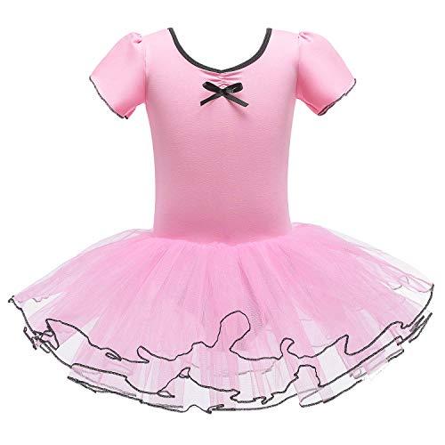 FONLAM Vestito Body da Balletto Danza per Bambine Ragazze Abiti Leotard Ballet Tutu Ginnastica Ragazza (Rosa, 6-7 Anni)