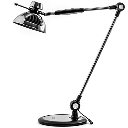 OTUS Architect LED Desk Lamp Gesture Control, Adjustable Metal Swing arm, Dimmable brightness levels, 3 Lighting Color modes, Tall Task Lamp for Home Office Drafting Table Light, Memory Function Black