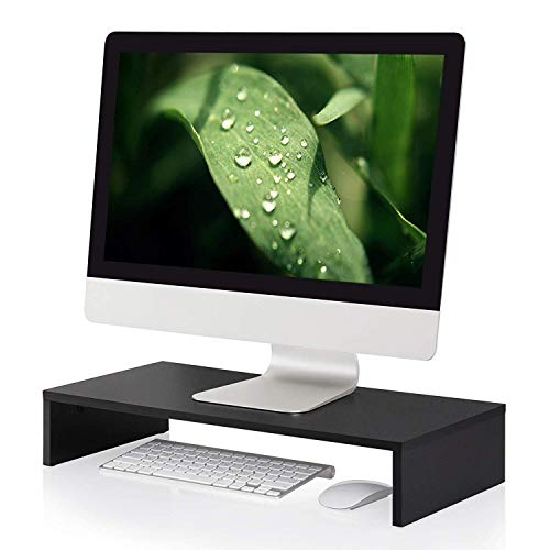 FITUEYES Computer Monitor Stand 21.3 inch Laptop/TV/Printer Screen Riser Desk Pet Dining Table with Keyboard Storage Space Black DT105401WB