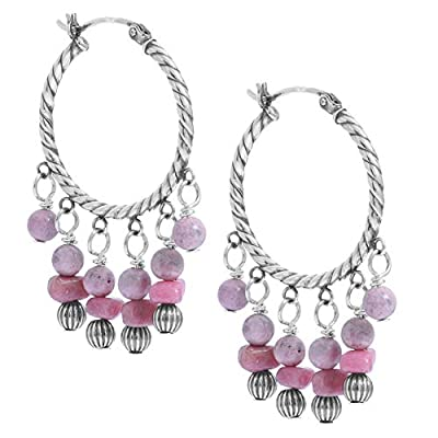 American West Sterling Silver Pink Rhodonite Gemstone and Silver Beaded Chandlier Hoop Earrings
