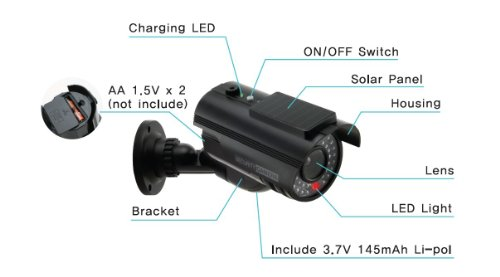 UniquExceptional UDC9black Solar Powered Fake Dummy Security Camera