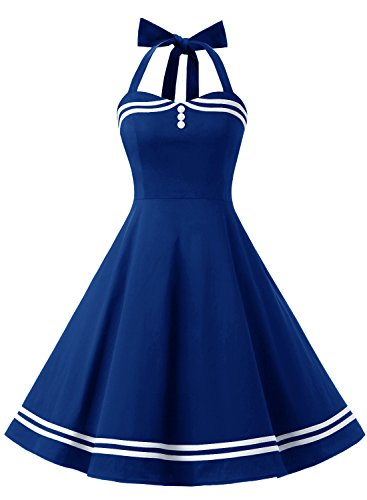 Timormode Damen Neckholder 1950er Vintage Retro Rockabilly Cocktailkleid Party Festlich Kleider 10387 Royal Blue L