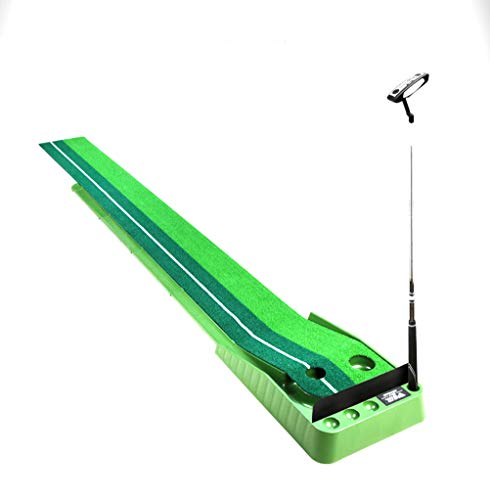 PGM Upgraded Indoor Golf Putting Trainer Portable Foldable Golf Practice Putting Mat Golf Green Putter Trainer 2.5M/3M with Return Fairway and Cover Board,Green,3m