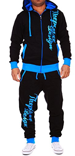 Violento Kinder Jungen Jogginganzug Jogging Hose Jacke Sportanzug Sporthose Fitness Hoodie schwarz/türkis XXS 152