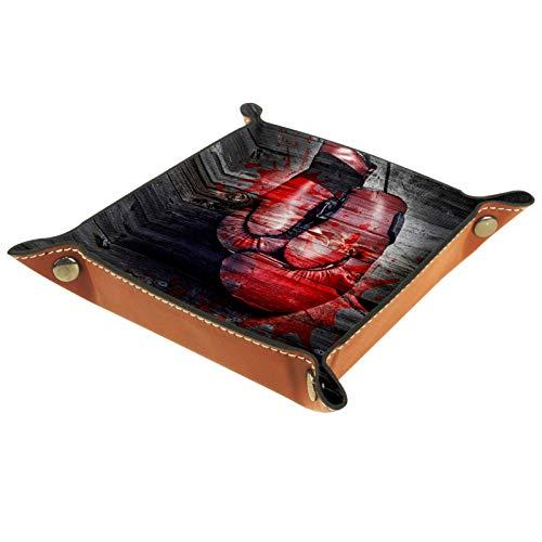 Tablett Leder,Boxhandschuhe braunes Holzmaserungsblut,Leder Münzen Tablettschlüssel für Schmuck,Telefon,Uhren,Süßigkeiten,Catchall-Tablett für Männer & Frauen Großes Geschenk