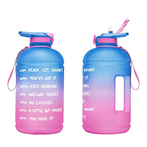 Large 1 Gallon Motivational Water Bottle with Paracord Handle & Removable Straw - 128 oz BPA Free Leakproof Water Jug with Time Marker to Ensure You Drink Enough Water Throughout the Day (A3-Bright Blue/Bright Pink Gradient)