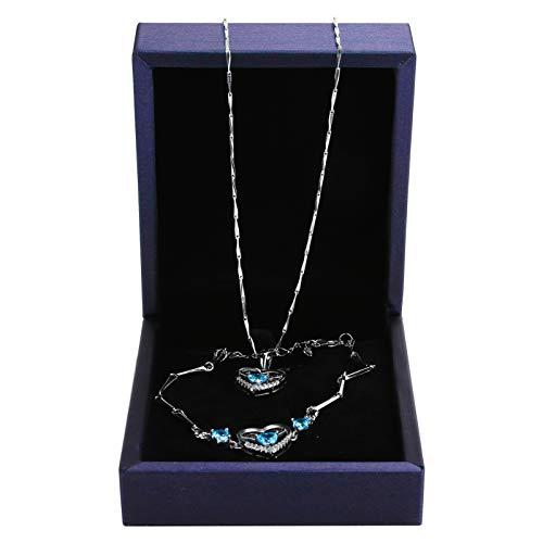 Joyería portátil Regalos para mujer Pulsera Collar Regalo Pulsera Collar Combinación No alergénico Durable Tamaño pequeño, Regalo, para damas(blue)