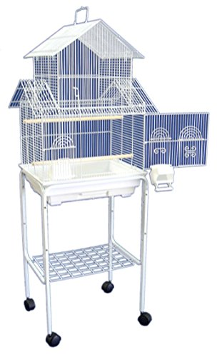 "YML 5844 3/8"" Bar Spacing Pagoda Bird Cage with Stand, 18"" x 14""/Small, White"