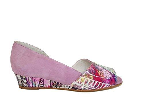 Gennia LEBIL - Damen Sandalen Keilabsatz, Veloursleder NATI(pink)-Lackleder Capri (Mehrfarbig), grösse 38
