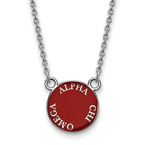 Solid 925 Sterling Silver Alpha Chi Omega Small Enl Pendant with Necklace (12mm)
