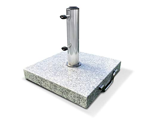 Jati 25kg Granite Parasol Base with Wheels - 32mm / 38mm / 48mm / 52mm Pole Adapters | Tightening Knobs | Handle | Stainless Steel Tube
