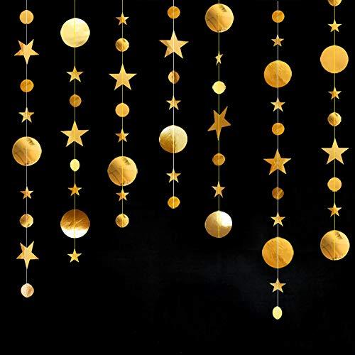 Mila-Amaz 4Pcs Guirnalda de Papel de Estrellas Brillantes Bunting Decoración Colgante para Bodas, Fiestas de Cumpleaños, Navidad