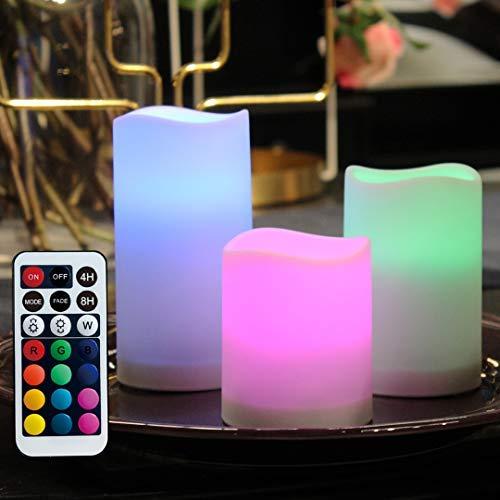WRalwaysLX Flammenlose Kunststoff-Stumpenkerzen für Außen- und Innenbereich, dekorativ, farbwechselnde LED-Kerzen mit Fernbedienung und Timer, 3 Kerzen, verwendet durch 3 AAA-Batterien