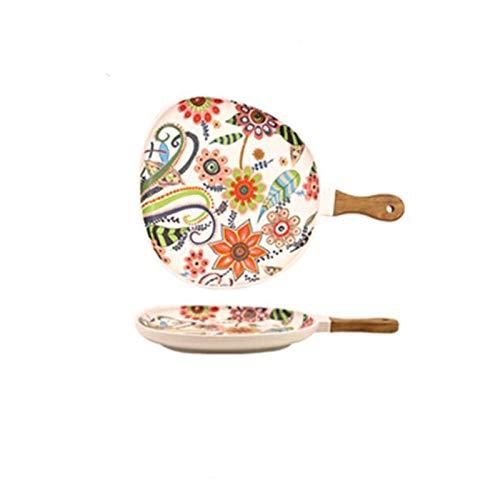 JSJJAET Plato de Cena Placas de Ensalada de cerámica con Mango, Placas de Cena de Porcelana, Placa de porción de patrón Floral Colorido para postres sándwiches (Color : Water Drop Small)