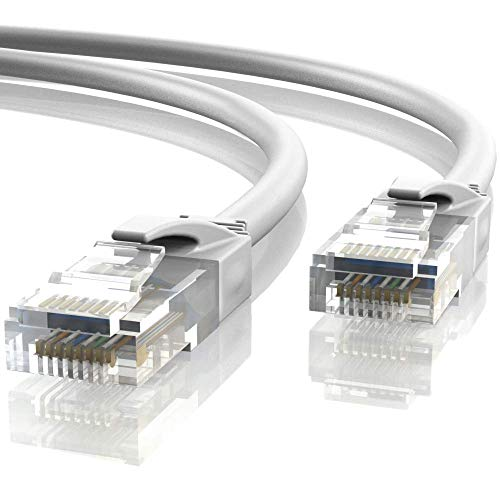 Mr. Tronic 20m Cable de Red Ethernet Latiguillo | CAT6, AWG24, CCA, UTP, RJ45 (20 Metros, Blanco)