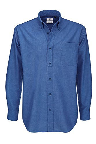 B&C Oxford Long Sleeve Shirt Chemise Business, Bleu (Blue Chip 000), 15 (Taille Fabricant: Small) Homme
