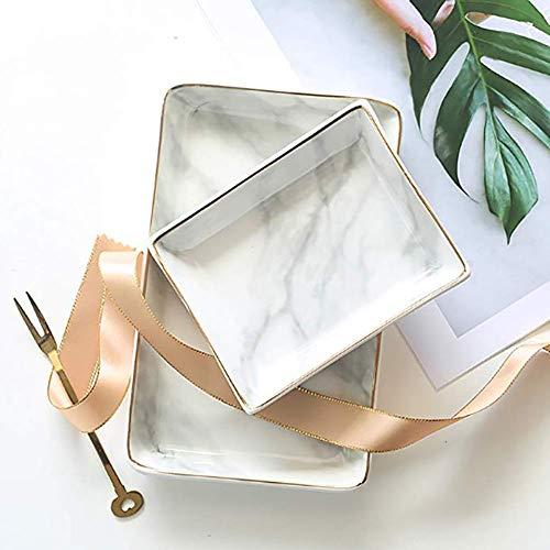 Preisvergleich Produktbild Hywot Marmor Keramik Schmuckablage,  Ring Dish Ring Halter Display Organizer mit Golden Edged Hochzeit Valentinstag Housewarminggeschenk, L