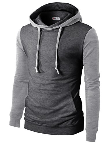 H2H Mens Casual Slim Fit Raglan Style Hoodie With Pocket CHARCOAL US 2XL/Asia 3XL (CMTTL073)