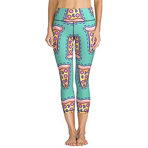 V-Vgl Women's Yoga Pants Delicious Pizza Fast Food Jogger Running Stretchy Skinny Leggings Capris High Waist Cropped Trouser