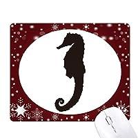 海馬は海洋生物のブラックパターン オフィス用雪ゴムマウスパッド