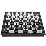 Weikeya Bien Ajedrez Colocar, 25 cm Magnético Plegable Tablero de ajedrez Usó como Claro Piezas con El plastico por Niños