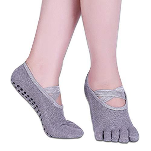 VIWIV Sport Yoga-Socken, Frauen Beleg-Nur Trockener Breathable Socken Und Strümpfe Für Pilates Ballett Socken Und Fitness-Tanz-Socken (2 Paar),Grau