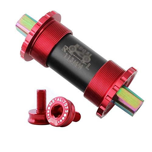 Garuot Bicycle Bottom Bracket, Bicycle Middle Axle Titanium Bottom Brackets For Folding Bike Fixed Gear MTB Road Bike103/107/110/113/119mm Titanium Shaft (Color : Red, Size : 107mm)