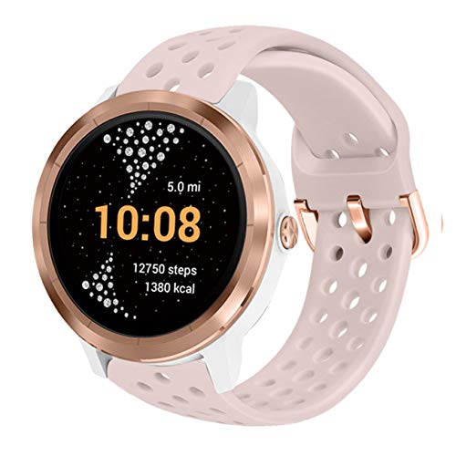 Abanen for Vivoactive 3/Venu Watch Band,20mm Soft Silicone Sport Waterproof Quick Release Wristband Strap Compatible with Gamrin Venu Sq,Forerunner 645/245,Vivomove Style/Luxe(Light Pink)