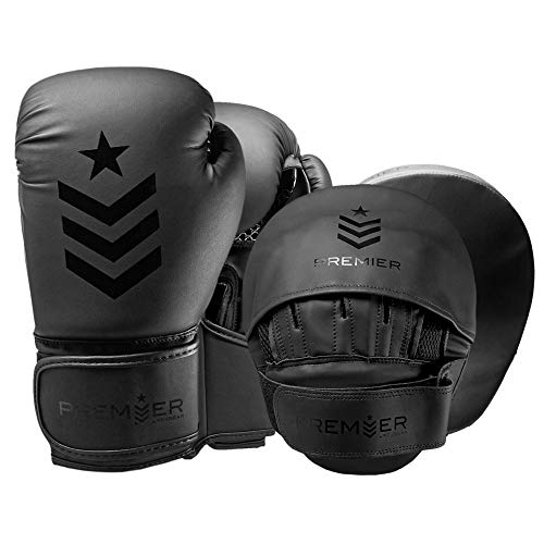 Revgear Premier Boxing Gloves (Black 12 OZ) and Focus Mitts Bundle | Use in The Gym or at Home | Ideal to Start Building Your Martial Arts Skills