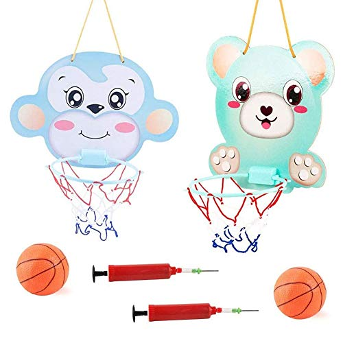 2Pcs Children's Cartoon Hanging Basketball Hoop and Backboard Set, Kids Basketball Stand and Hoop Adjustable Indoor Sports Basketball Stand Toy for Boys Girls (Bear + Monkey)