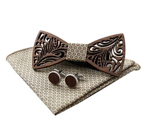 Niustore - Juego de pañuelos para hombre de madera hecha a mano, diseño de pajarita
