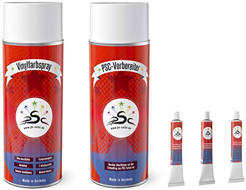 PENTA STAR COLOR Set 5-400: Vinylverf RAL 1000 & Kunstleder-reiniger 400ml Spray & vloeibaar leer & kunstlederen spatel & kunstlederen lijm 8gr tube voor het verven, repareren en restaureren van kunstleren stoelen en alle andere gladde kunststoffen (behalve PP)