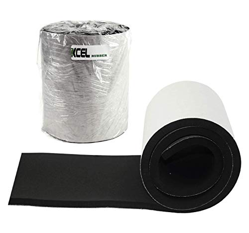 XCEL Super Versatile Rubber Pads with Strong Adhesive, Great Vibration Damping Pads, Perfect for Loud Washing Machines, Acoustic Foam Pad, Made in USA (1 Pack - 60' x 8' x 1/2')
