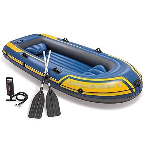 FUJGYLGL Kayak Inflable, 3-Persona Kayak Inflable Set, 3 Persona Inflable del Barco de Pesca de Dos hileras de válvula con Rigid Inflatable Boat, por Pescador y Recreativo