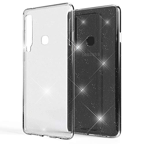 NALIA Glitter Hülle kompatibel mit Samsung Galaxy A9 2018, Glitzer Handyhülle Ultra-Slim Silikon Hülle Cover Schutzhülle, Bling Handy-Tasche Bumper, Dünnes Strass Phone Backcover, Farbe:Transparent