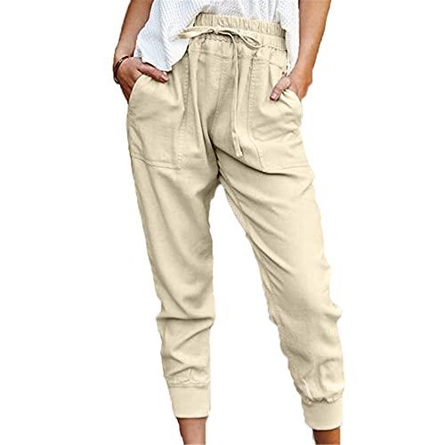 Chenlao7gou621 FrüHling Und Sommer Reine Farbe Einfache Freizeithose Damen Slim Slimming Neun-Punkt-Hose
