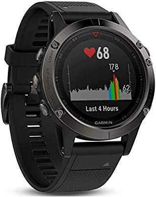 Garmin f?nix 5, Premium and Rugged Multisport GPS Smartwatch, Slate Gray/Black Band, 47 MM