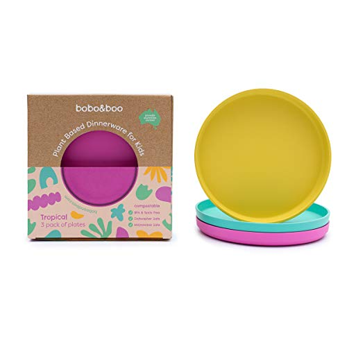 Bobo&Boo Colorful Plant-Based 7.5 inch Kids Plates for Toddler Eating – Set of 3, Plant-Based, Melamine-Free And BPA-Free – Eco-Friendly Toddler Plate Set for Boys and Girls In a Tropical Color Scheme