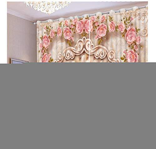 cortinas turquesa y rosa
