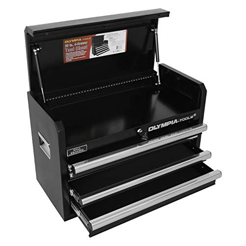 Olympia Tools Heavy Duty Steel Tool Chest with Drawers, 26 inch, 4-Drawer Box Storage Organizer Metal Tool Box with Ball Bearing Slides, Fully Extendable Drawers, Black Color