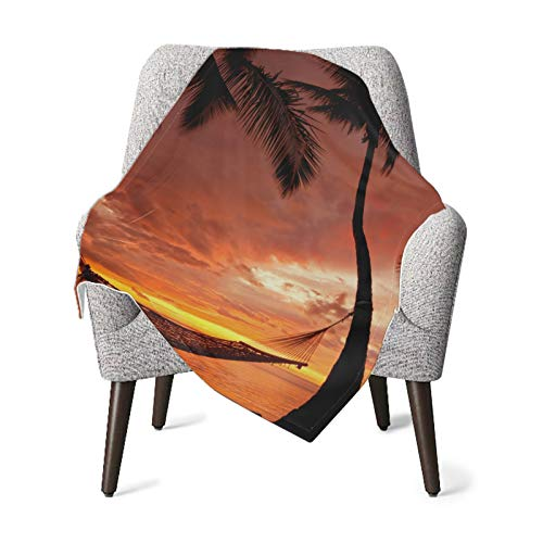 Throw Blanket Beautiful Vacation Sunset Hammock Silhouette Palm Unisex Baby Blanket Throw Soft Warm Blankets for Couch Bed Sofa Office Throws (30x40in)