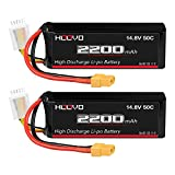 HOOVO 4S 14.8V 2200mAh 50C Lipo Battery Hard Case Pack with XT60 Connector for Popular RC Car RC Helicopter Airplane Quadcopter UAV Drone FPV (2 Packs)