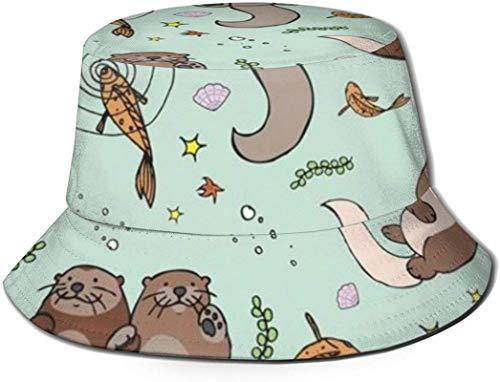 Ocean Animal Turtle Print Bucket Hat Pescador Pesca Gorra para el Sol para Mujeres Viajes