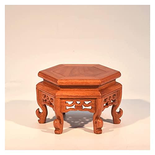 Pedestal de madera maciza Bonsai Soporte de exhibición de taburete de pies altos, estante hexagonal de la vendimia Moderna Moderna flor de macetas de maceta para el hogar Balcón Jardín Base de Bonsai